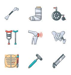 Prosthetic appliance icons set cartoon style vector
