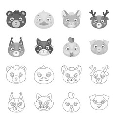 protein raccoon chicken pig animal muzzle set vector image