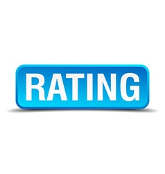 Rating blue 3d realistic square isolated button vector image