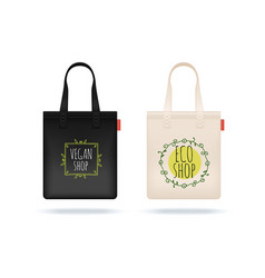 realistic shopping bag black white textile bags vector image
