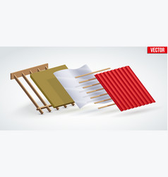 Red zinc metal roofing cover and layers vector