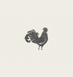 Rooster silhouette for poultry farm industry hand vector