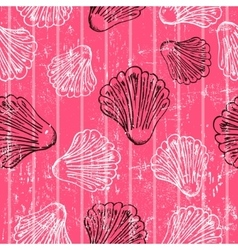 Seamless pink texture with clams vector