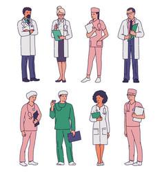 Set hospital medical staff doctors sketch vector