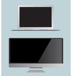 Set monitor and laptop Realistic vector