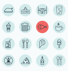 Set of 16 food icons includes fried poultry vector