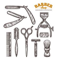 Set vintage barbershop tools and accessories vector