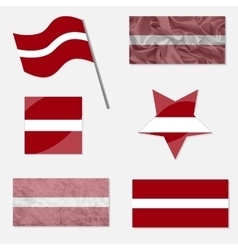 Set with flags of latvia vector
