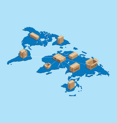 shipping worldwide international with cardboard vector image