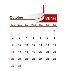 simple calendar 2016 year october month vector image