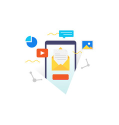 smartphone with email on device screen vector image