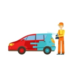 Smiling Mechanic Painting The Car In The Garage vector
