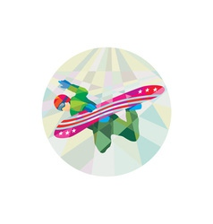 Snowboarder Snowboard Jumping Low Polygon vector