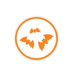 sticker full moon and bats on a white background vector image