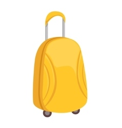 Stylish Yellow Suitcase On Wheels With Telescopic vector image