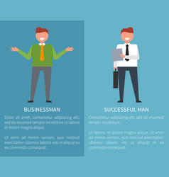 successful businessman set of posters on blue vector image