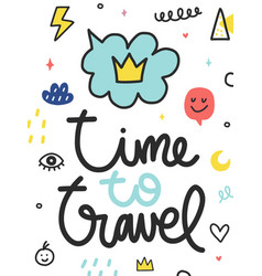 summer doodle poster with phrase vector image