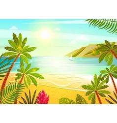 Tropical sea beach flat poster print vector