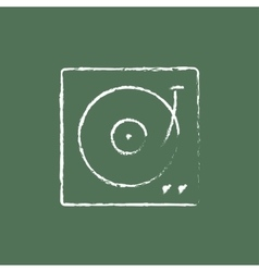 Turntable icon drawn in chalk vector image