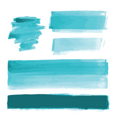 Turquoise blue watercolor shapes brush strokes vector