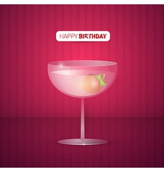 Violet Happy Birthday Background With Drink vector image