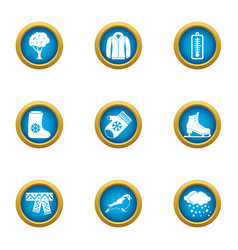 Winter flavour icons set flat style vector