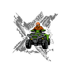 Xtreme atv off-road quad bike isolated background vector
