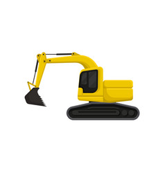 yellow excavator with bucket and cab on rotating vector image