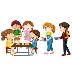children having lunch on table vector image vector image