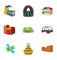 city objects icons set cartoon style vector image vector image