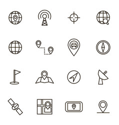 geolocation navigation black thin line icon set vector image vector image