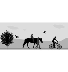 People walking in the park on a horse and bicycle vector image