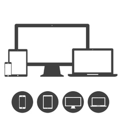 Set of display laptop tablet and mobile phones vector image