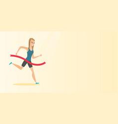 Young caucasian sportswoman crossing finish line vector