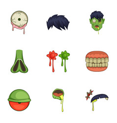 Zombie constructor icons set cartoon style vector