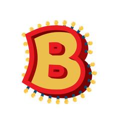 letter b lamp glowing font vintage light bulb vector image