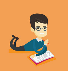student laying on the floor and reading book vector image