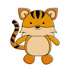 tiger cute animal cartoon icon image vector image vector image