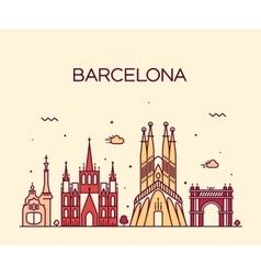 Barcelona City skyline Trendy line art vector image