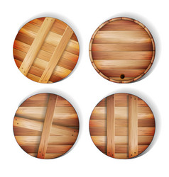 barrel wooden sign 3d icon with shadow and vector image vector image