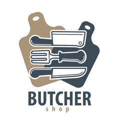 butcher shop logotype with cutleries on vector image