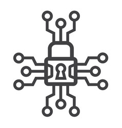 cyber security line icon padlock and security vector image