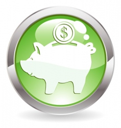 gloss button with piggy bank vector image vector image