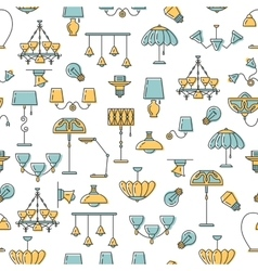 Seamless pattern line icon lamp vector image vector image