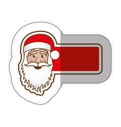 sticker shading banner with face cartoon santa vector image vector image