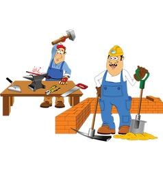 Two workers vector image vector image
