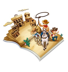 A book with an image of three cowboys vector