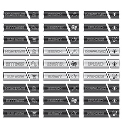 Black and Silver Websites Buttons with Icons vector image