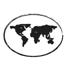 black grunge earth map stamp style symbol 2 vector image vector image