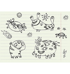 Collection of Cartoon Doodle Monsters 2 vector image